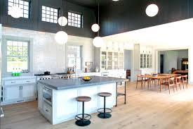 mid century modern kitchen white. Spacious And Open Modern Mid Century Kitchen Design With Large Island Seating Beneath White Ball