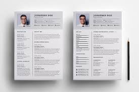 2 Page Resume Template Professional two page resume set Resume Templates Creative Market 1