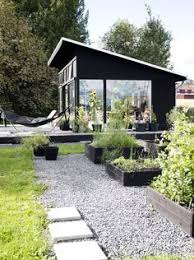 tiny backyard home office. black house gravel garden tiny backyard home office