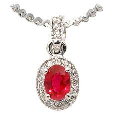 oval ruby diamond gold pendant necklace for