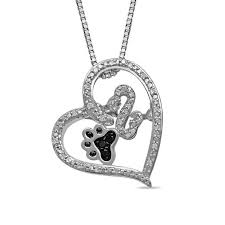 open hearts rhythm by jane seymour enhanced black and white diamond accent paw pendant in