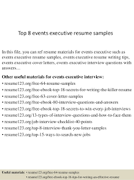 Executive Resume Writing Tips Top 8 Events Executive Resume Samples
