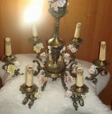 antique six lights solid brass chandelier decorated with multicolored porcelain flowers and brass leaves meissen style