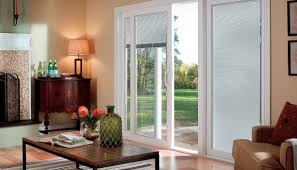 patio doors with blinds between the glass: living room with sliding patio door and blinds between the glass