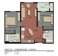 Unit D1 2 Bedroom/2 Bath.