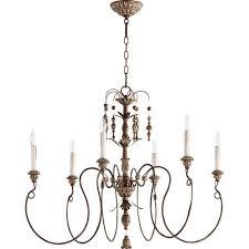 quorum international nto vintage copper 32 inch six light chandelier
