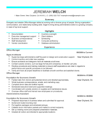 ... Wondrous Office Manager Resume Sample 5 Best Office Manager Resume  Example ...