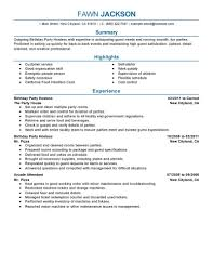 Best Birthday Party Host Resume Example Livecareer