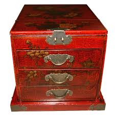 oriental large red jewellery box with