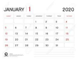 One Sheet Calendar 2020 January 2020 Year Template Calendar 2020 Desk Calendar Design