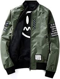 Mens Pilot <b>Jacket Two Sides</b> Wear Letter Printed Thin Bomber ...