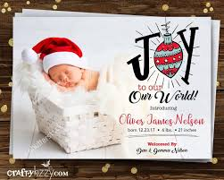 Birth Announcement Christmas Card Joy To Our World Photo