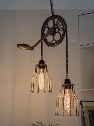 Ceiling Light With Chain Cycle Gear Chain Ceiling Light
