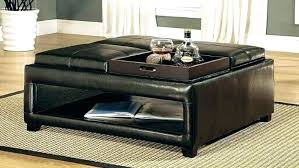 black square ottoman leather coffee table round espresso with storage tufted