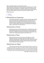 Descriptive Essay Example About An Object Start A Descriptive Writing