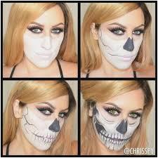 half skeleton makeup tutorial lovely skeleton face makeup tutorial easy