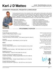 Production Manager Resume Television Http Www Resumecareer Info
