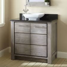 Allibert Bathroom Cabinets 36 Venica Teak Vessel Sink Vanity Gray Wash Bathroom