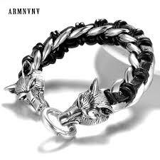 armnvnv gothic punk mens vintage wolf head 316l titanium stainless steel chain leather braid biker bracelets