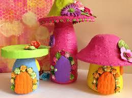 group of fairy mushroom houses