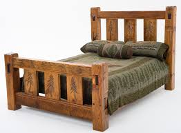 Rustic Lodge Barn Wood Bed With Carved Pine Trees