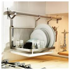 Elegant IKEA Dish Drying Rack White Water Tray Wooden Butcher Block Wire Dish  Rack Kitchen Plate Rack Solid Crome Brused Wall Mounted Drying Rack