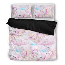 rainbow clouds unicorn bedding set duvet pillow cases twin queen size sheets king ikea full box