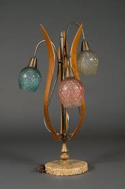 a large vintage 1950 s american colored glass table lamp