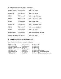 B Flat Clarinet Transposition Chart Range Of Instruments