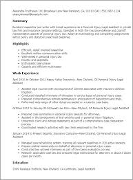 Resume Templates: Personal Injury Legal Assistant