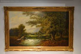 landscape oil painting of river with cattle antique oil paintings