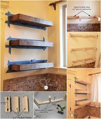 self installed wooden floating shelves