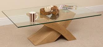 milano stylish glass coffee table with oak wood x base frame from our coffee tables range at tesco direct