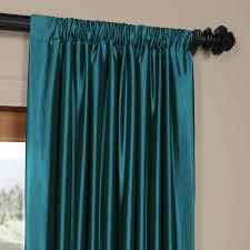 exclusive fabrics solid faux silk taffeta terranean curtain panel free today com 13381760