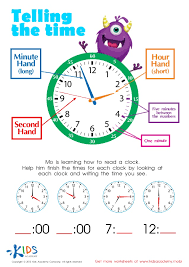 Learn to tell time - printable worksheets for kids
