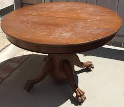 Antique Round Oak Claw Foot Dining Or Kitchen Table W4 Leaf Vintage