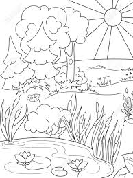 cartoon coloring book black and white nature glade in the forest with plants stock