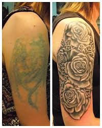 Black And Grey Roses Cover Up Tattoo By Paul Butler