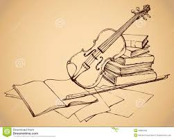 still life of violin on old books and pages with notes vector monochrome freehand sketchy ink outline drawn backgdrop in engraving style with e for