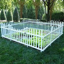 pet or garden vinyl enclosure picket fence with gate white border 4 pc set outdoor s garden picket fencing