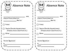 Absence Excuse From School Note | Pinterest | Classroom Attendance ...
