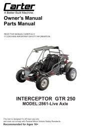 carter brothers manuals carter brothers interceptor gtr 250 live axle user parts manual