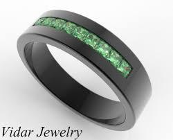 black gold emerald ring