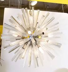 midcentury modern large glass rod sputnik chandelier