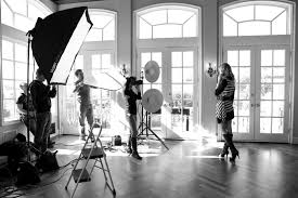 lighting set. a standard set up with soft boxes reflectors beauty dishes and good lighting