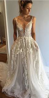 honorable deep v neck sleeveless court train appliques wedding