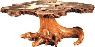 burl wood coffee table rustic buckeye with stump base uk