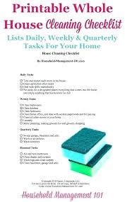 Household Chores Checklist Printable Weekly House Cleaning List Master  Schedule Monthly Chore . Household Chores Checklist ...