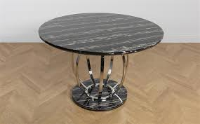 gallery savoy round black marble and chrome dining table