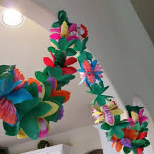 Paper Flower Garland Us 3 24 24 Off Hawaii Style Colorful Tissue Flower Garland 3m Tropical Type Birthday Paper Flower Garland Festival Party Home Decoration In Party